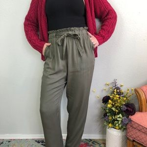 Nick Paperbag Olive Tie Waist Belted Cuffed Pants